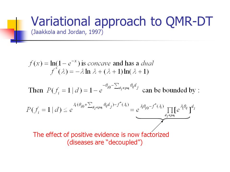 Variational approach to QMR-DT (Jaakkola and Jordan, 1997)