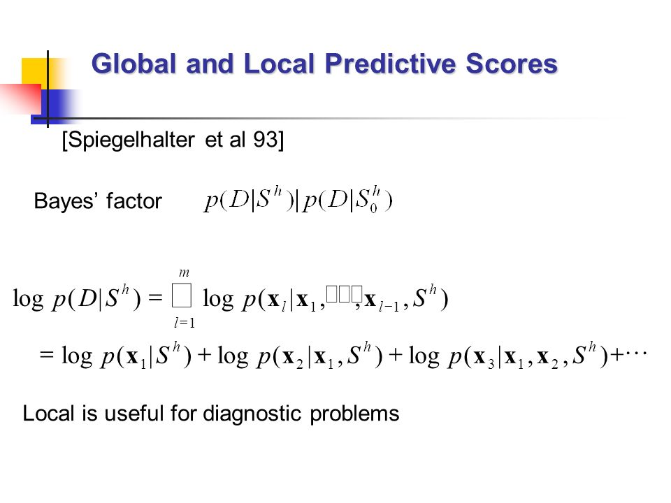 Global and Local Predictive Scores