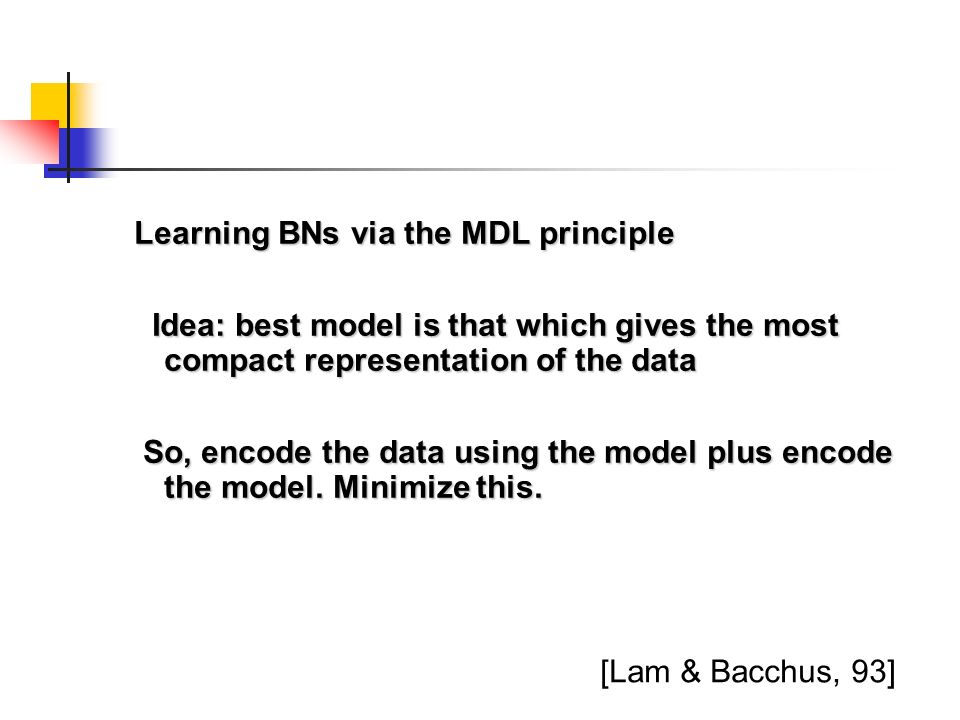 Learning BNs via the MDL principle