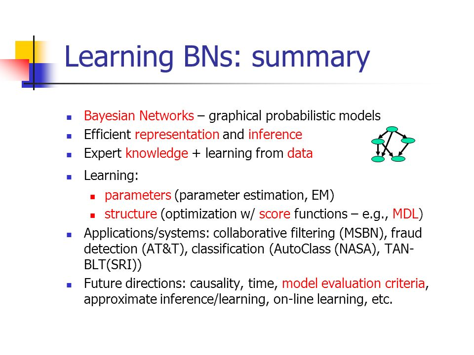 Learning BNs: summary Bayesian Networks – graphical probabilistic models. Efficient representation and inference.