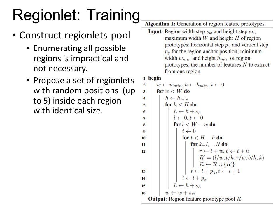 Regionlet: Training Construct regionlets pool