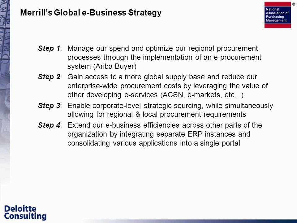 Merrill's Global e-Business Strategy
