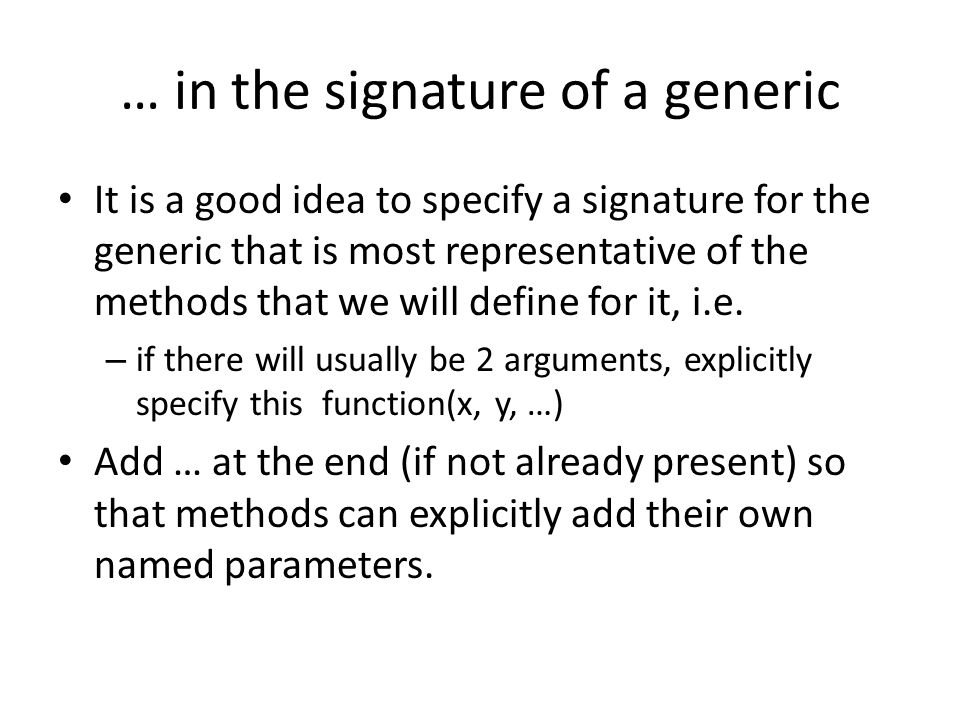 … in the signature of a generic