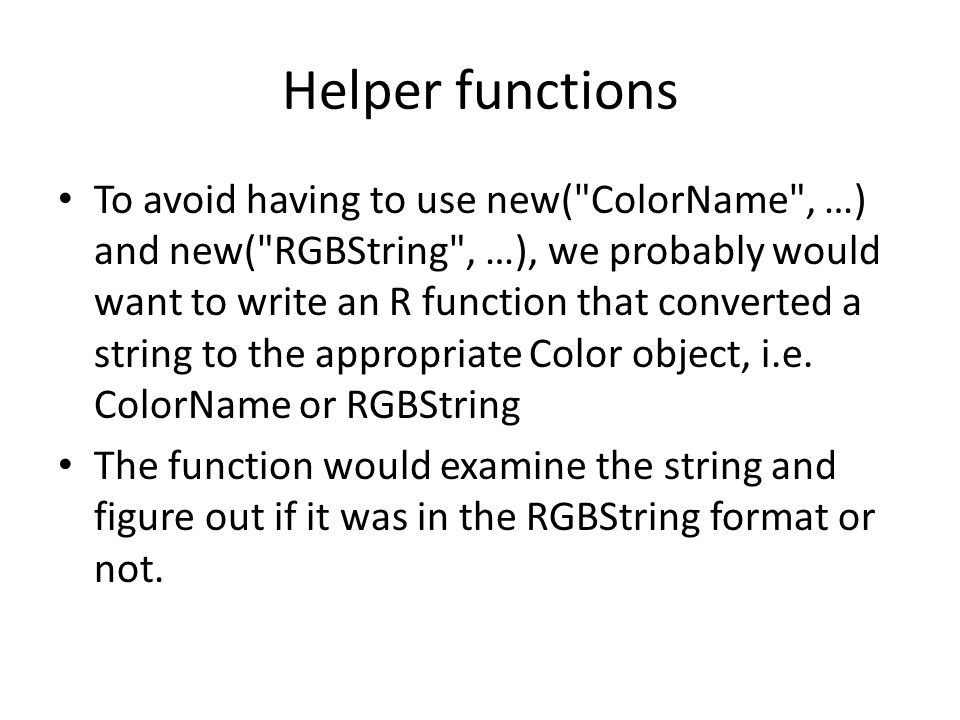 Helper functions