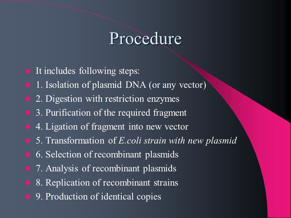 Procedure It includes following steps: