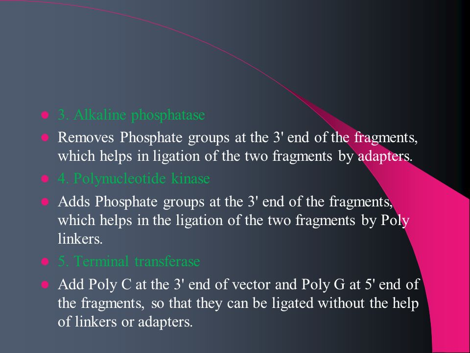 3. Alkaline phosphatase Removes Phosphate groups at the 3 end of the fragments, which helps in ligation of the two fragments by adapters.