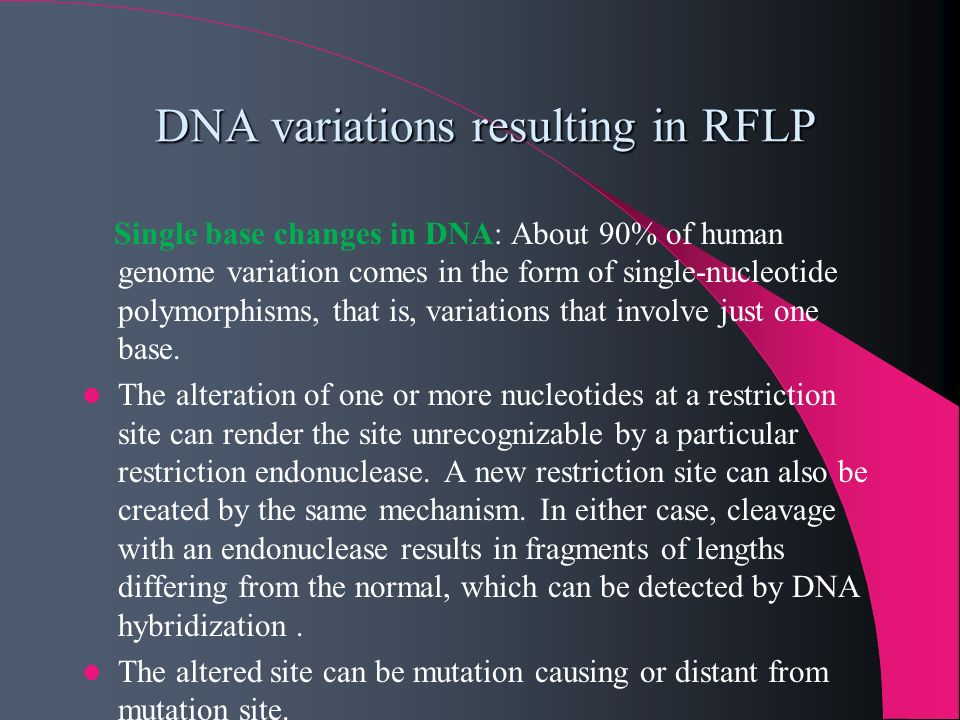 DNA variations resulting in RFLP
