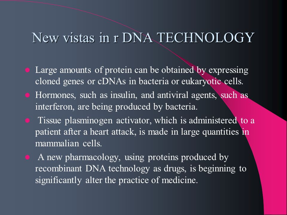 New vistas in r DNA TECHNOLOGY