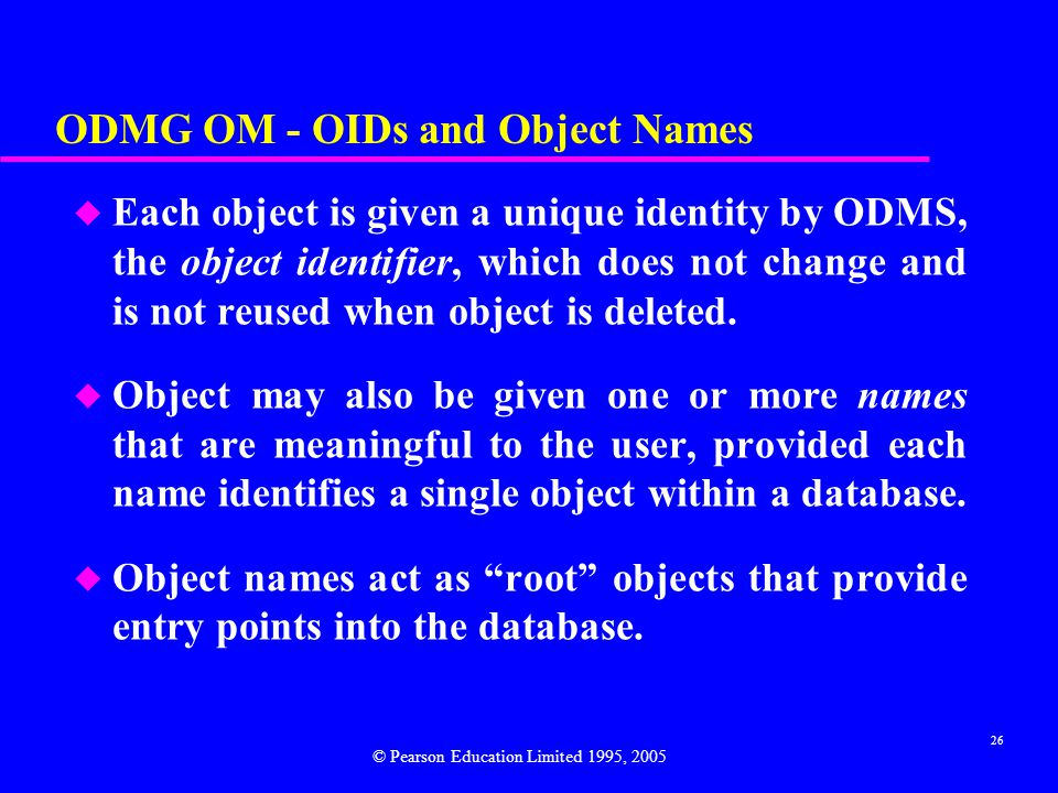 ODMG OM - OIDs and Object Names
