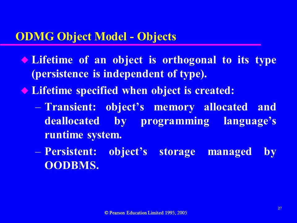 ODMG Object Model - Objects