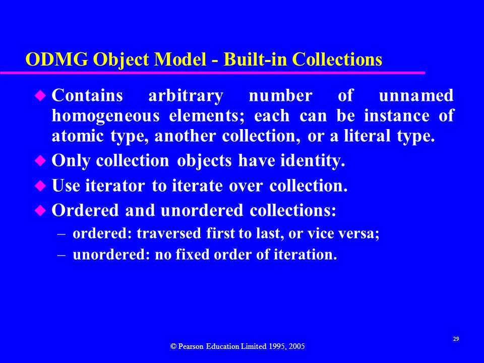 ODMG Object Model - Built-in Collections