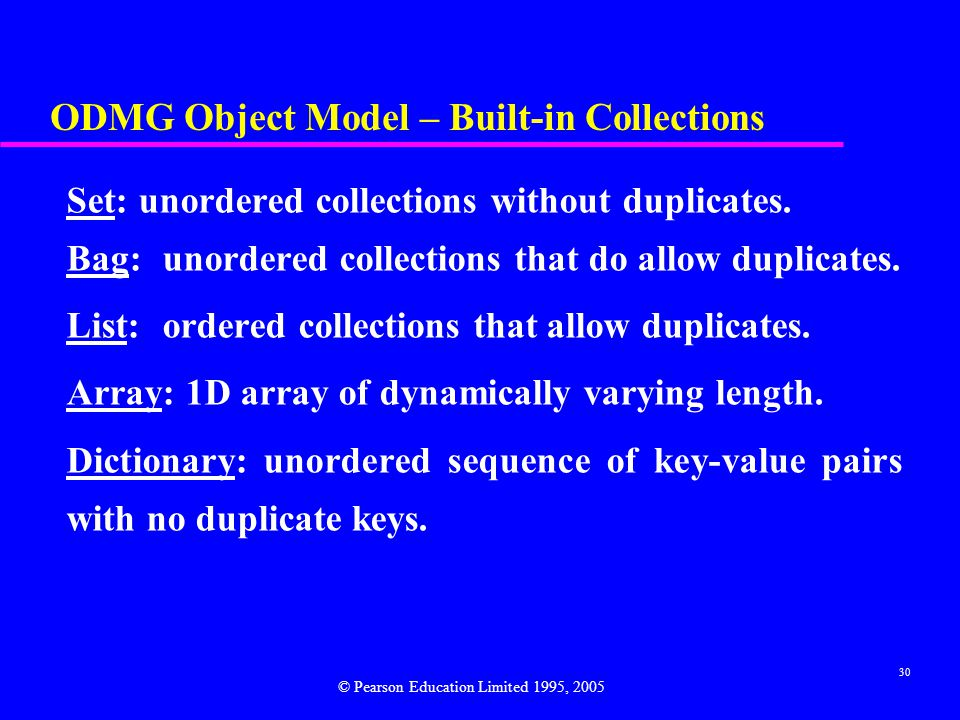 ODMG Object Model – Built-in Collections