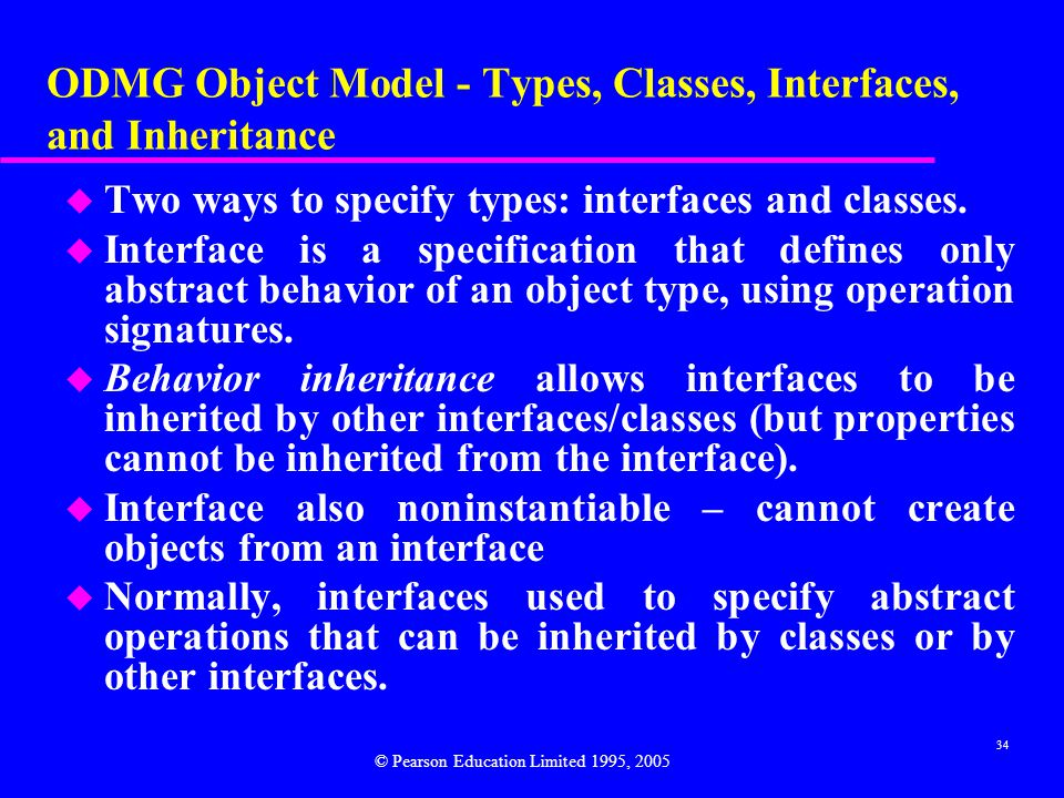 ODMG Object Model - Types, Classes, Interfaces, and Inheritance