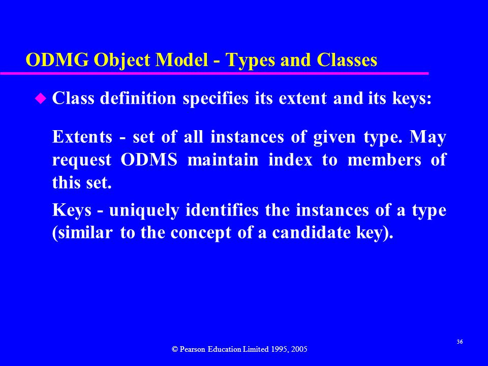ODMG Object Model - Types and Classes