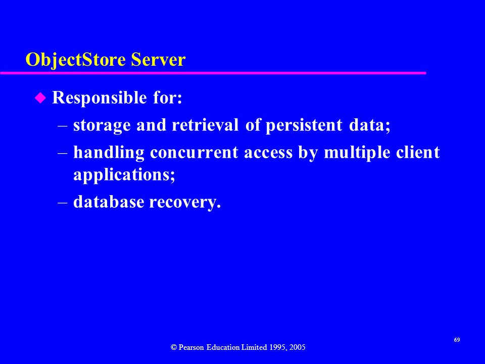 ObjectStore Server Responsible for: