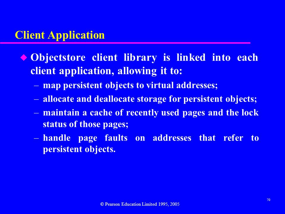Client Application Objectstore client library is linked into each client application, allowing it to: