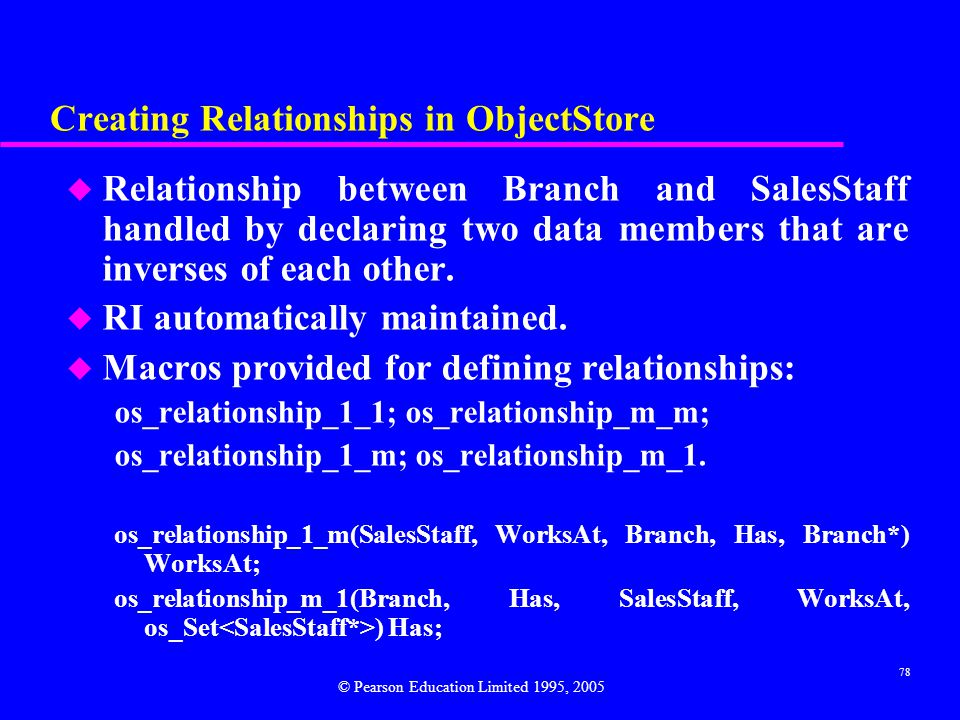 Creating Relationships in ObjectStore