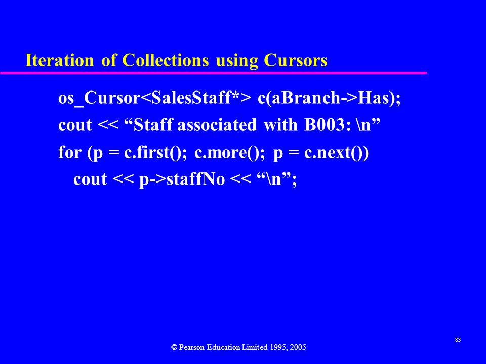 Iteration of Collections using Cursors