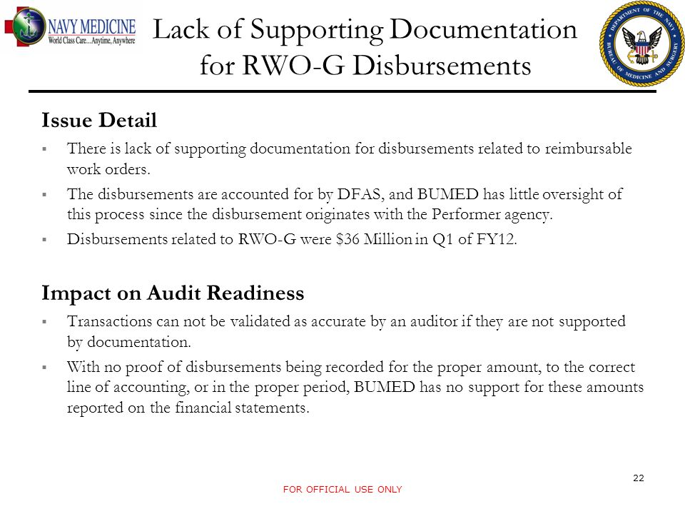 Lack of Supporting Documentation for RWO-G Disbursements