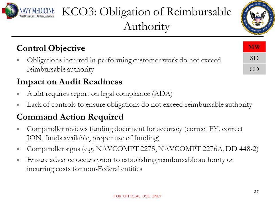 KCO3: Obligation of Reimbursable Authority