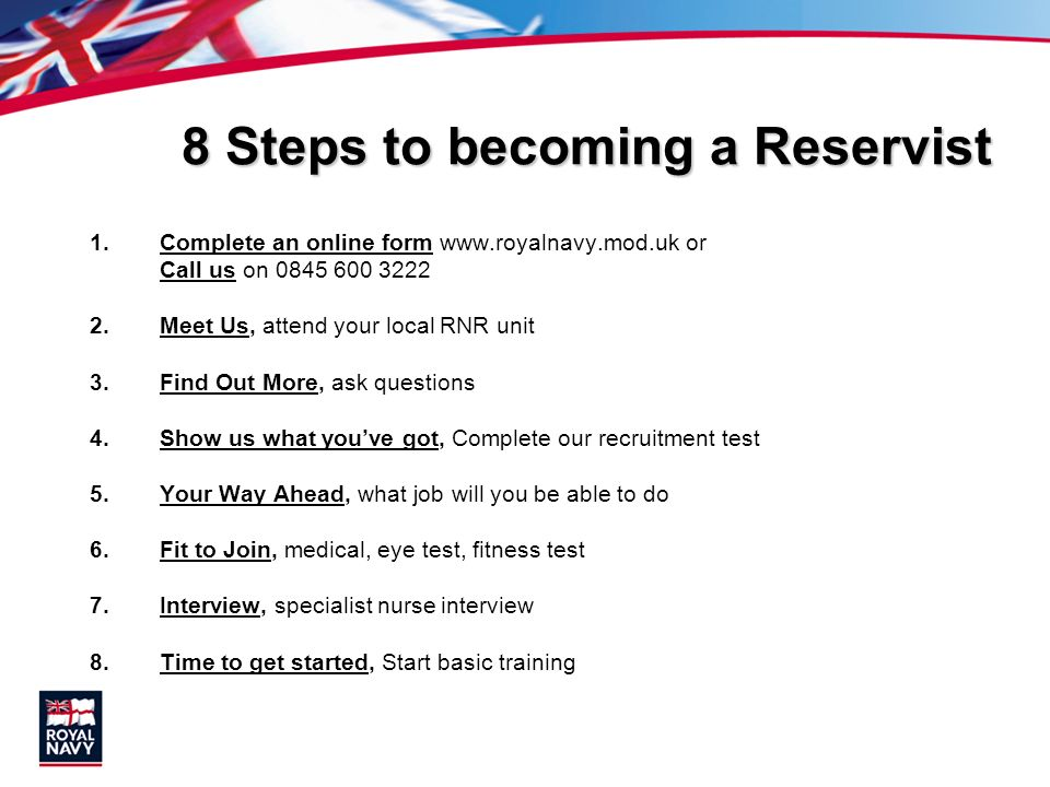 8 Steps to becoming a Reservist