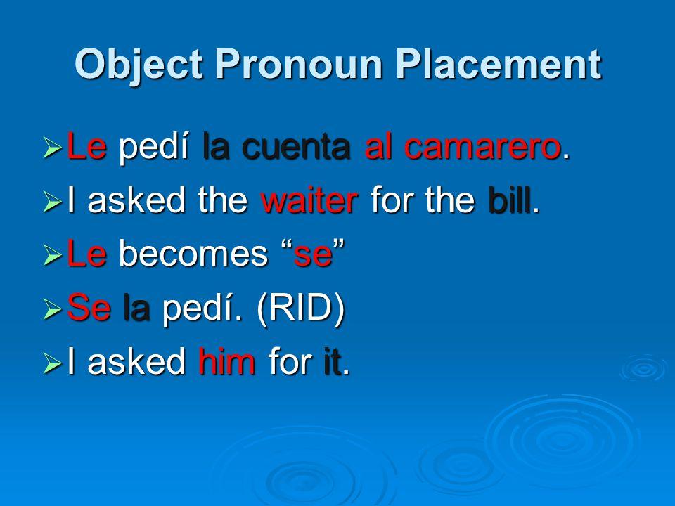 Object Pronoun Placement