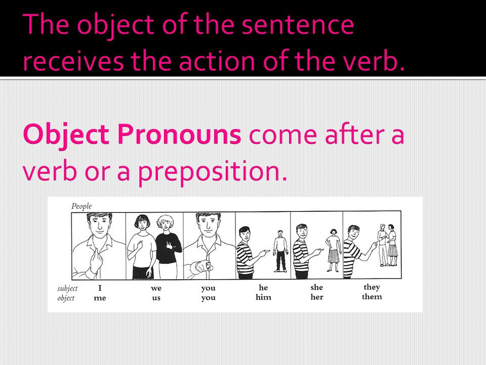The object of the sentence receives the action of the verb