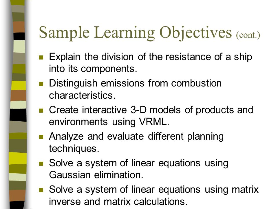 Sample Learning Objectives (cont.)
