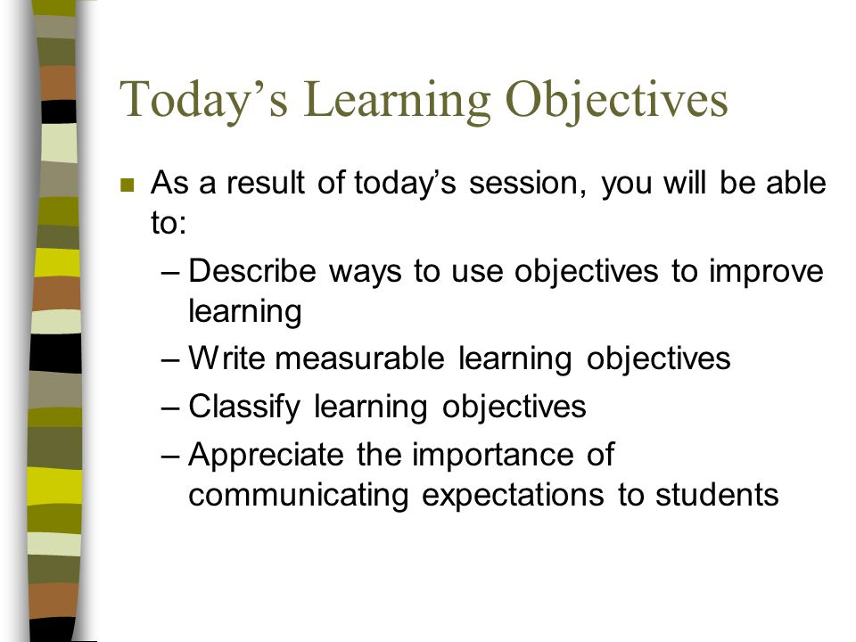 Today's Learning Objectives