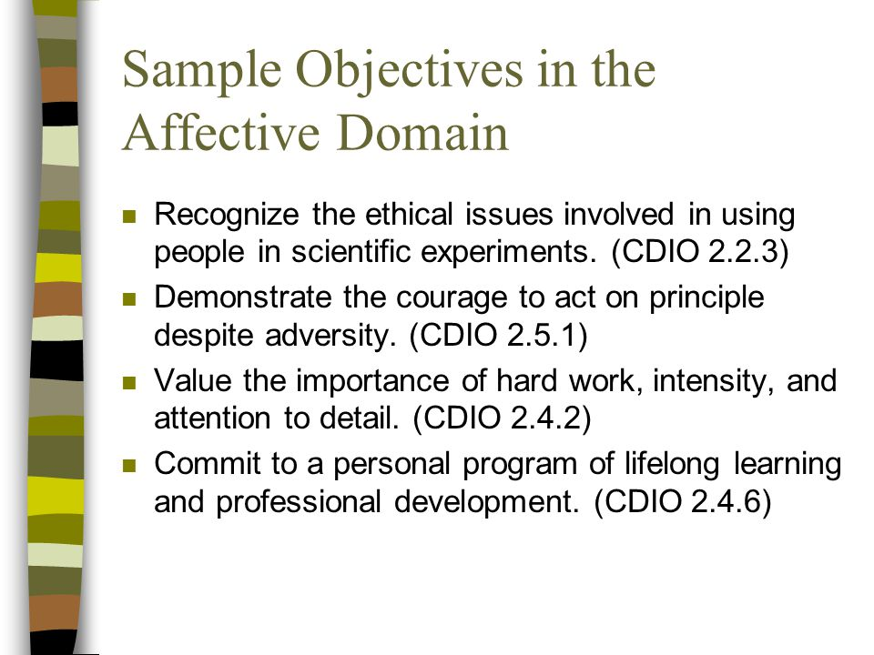 Sample Objectives in the Affective Domain