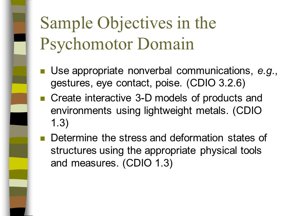 Sample Objectives in the Psychomotor Domain
