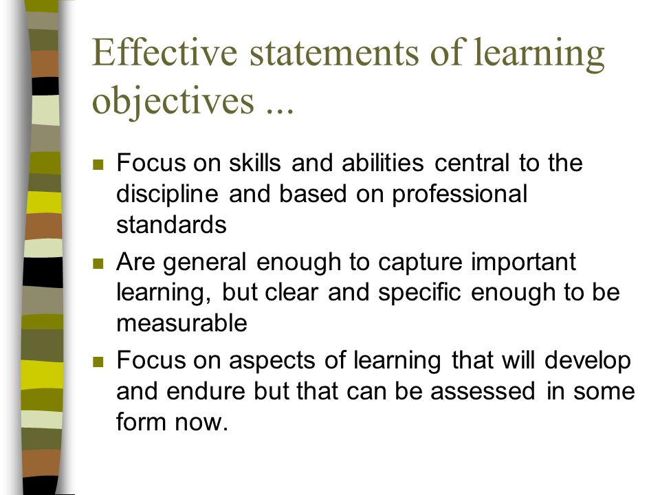 Effective statements of learning objectives ...