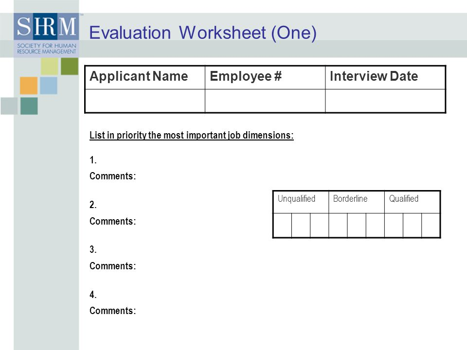 Evaluation Worksheet (One)