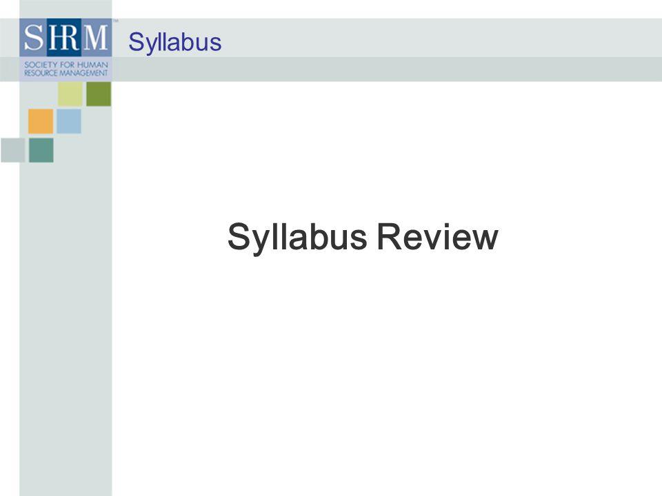 Syllabus Syllabus Review
