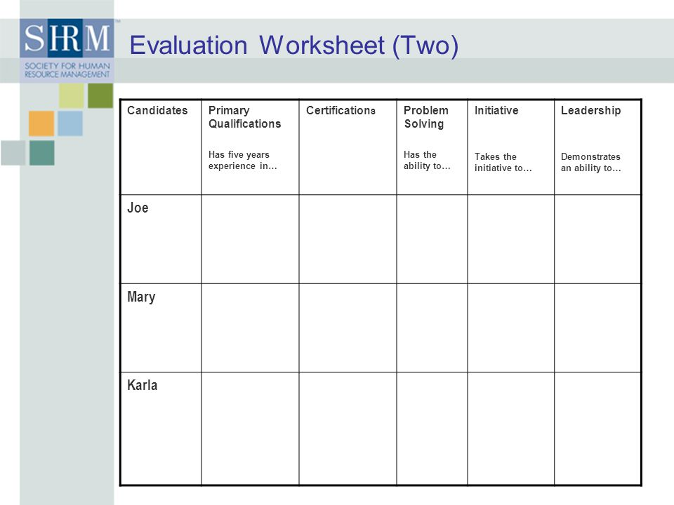 Evaluation Worksheet (Two)