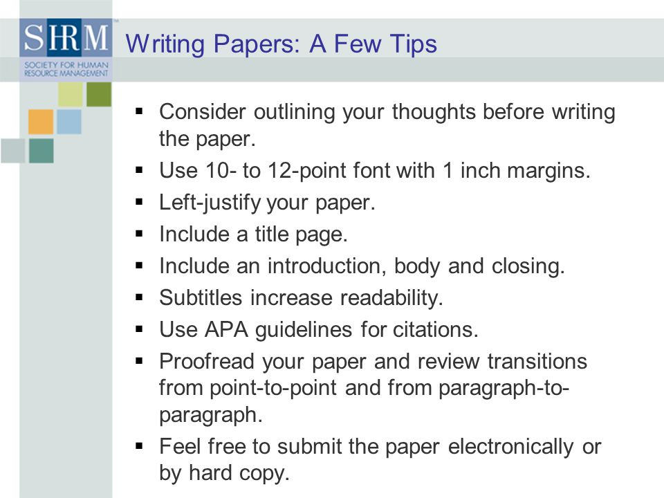Writing Papers: A Few Tips