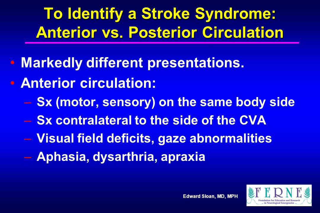 To Identify a Stroke Syndrome: Anterior vs. Posterior Circulation