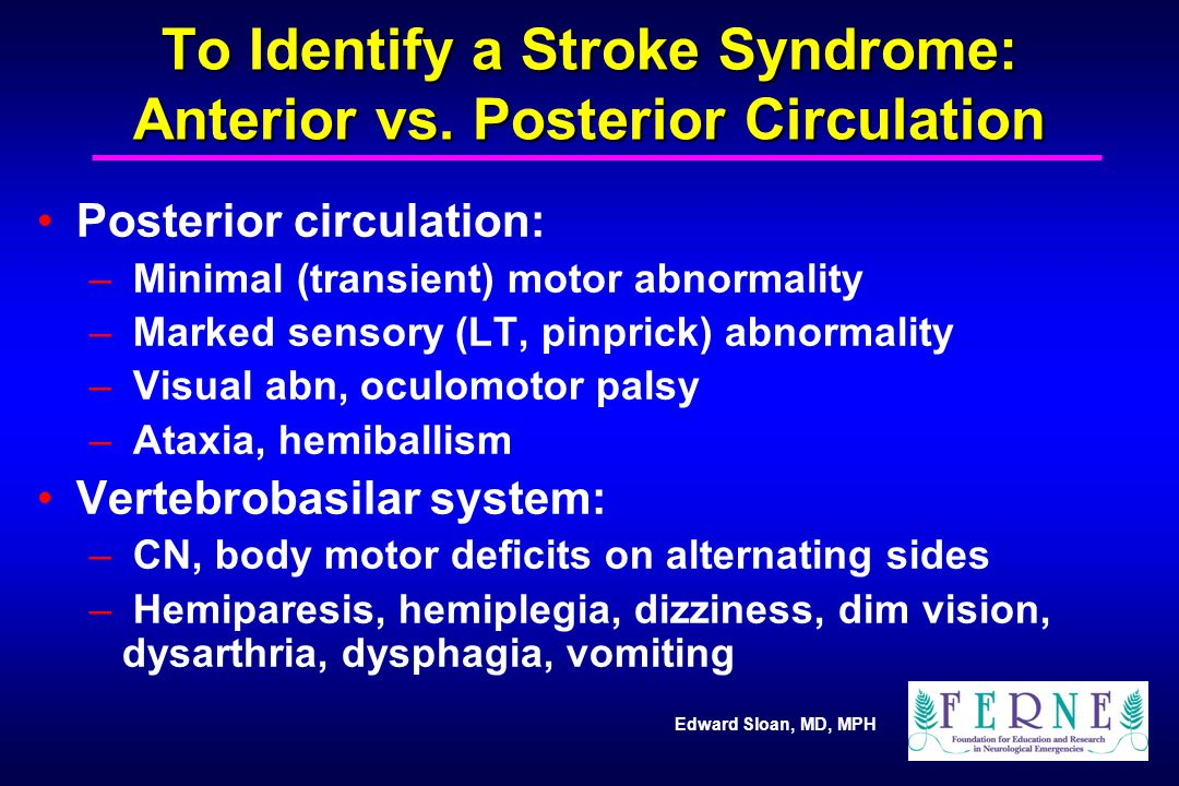 To Identify a Stroke Syndrome: Anterior vs. Posterior Circulation
