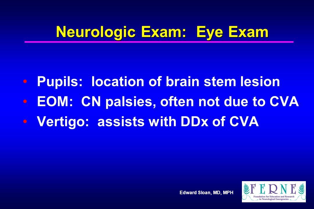 Neurologic Exam: Eye Exam