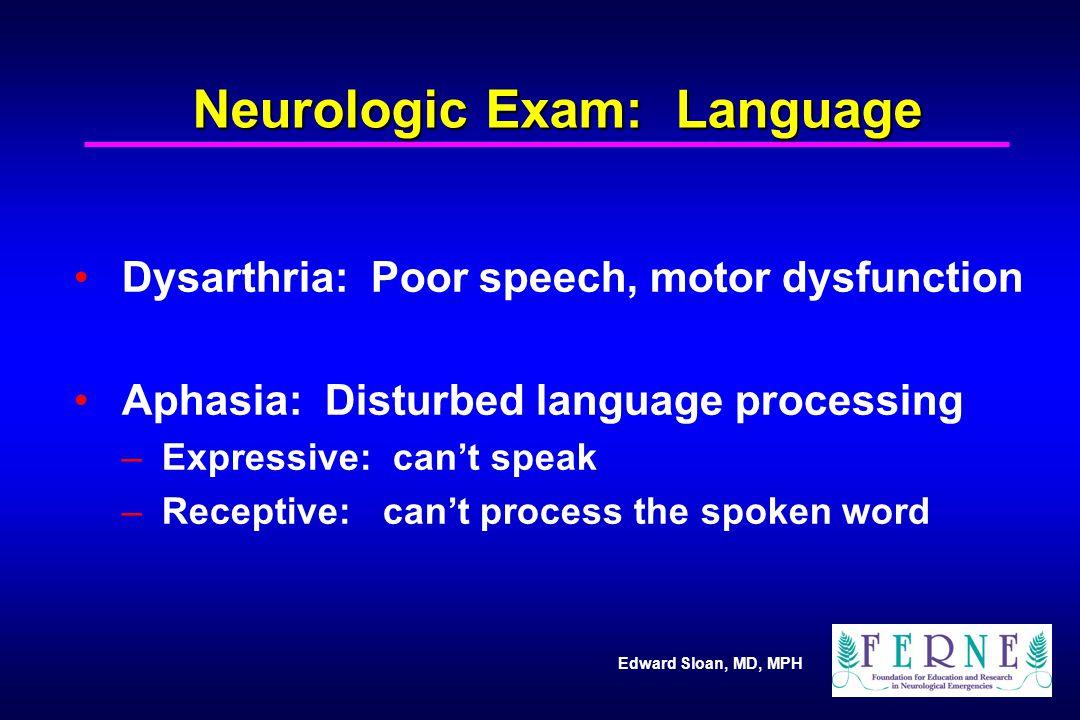 Neurologic Exam: Language