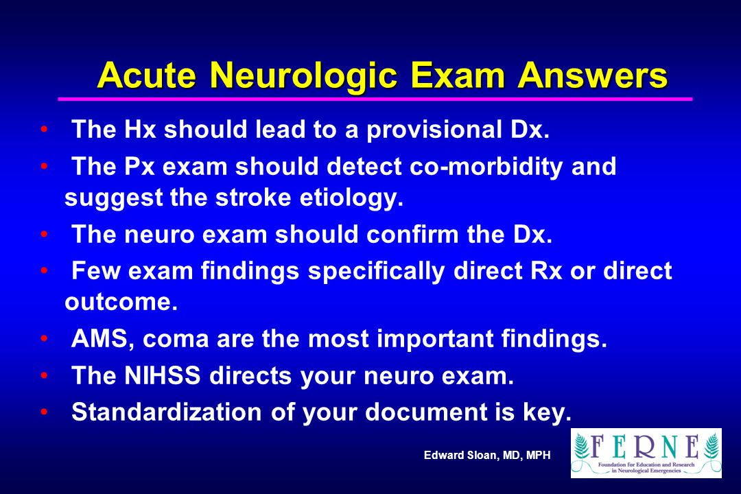 Acute Neurologic Exam Answers