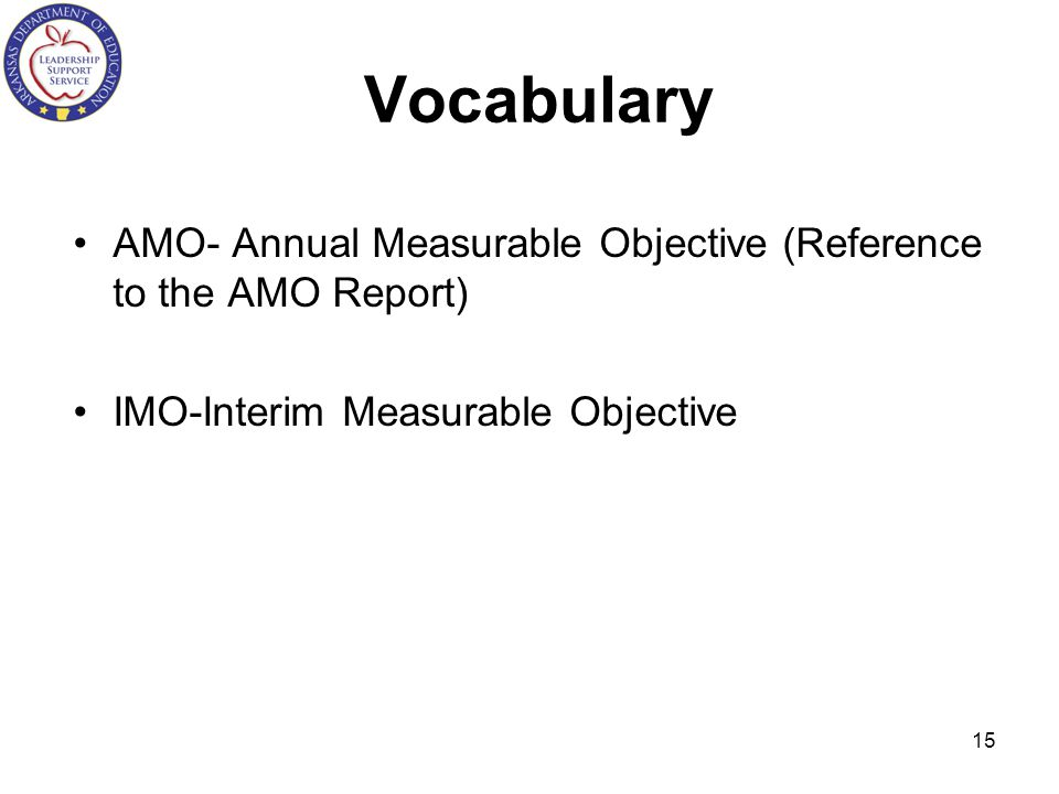 Vocabulary AMO- Annual Measurable Objective (Reference to the AMO Report) IMO-Interim Measurable Objective.