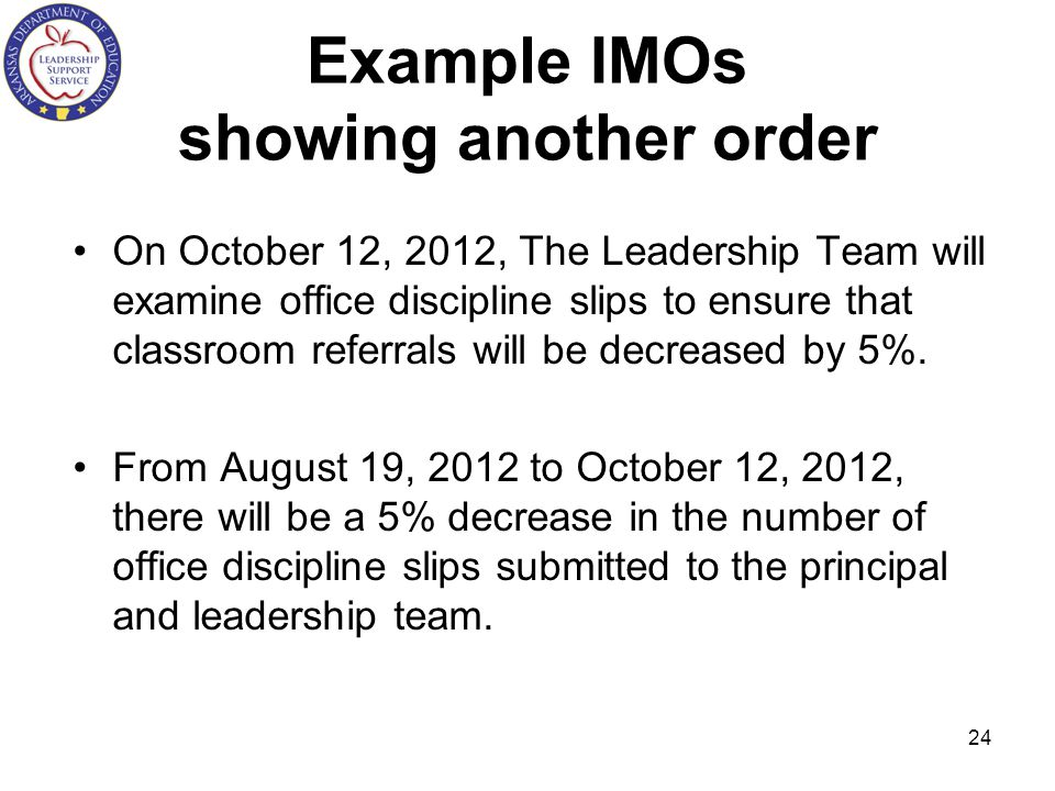 Example IMOs showing another order