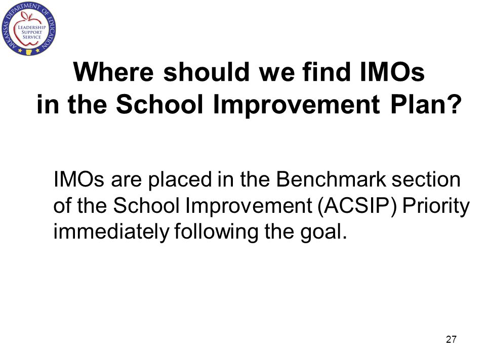 Where should we find IMOs in the School Improvement Plan