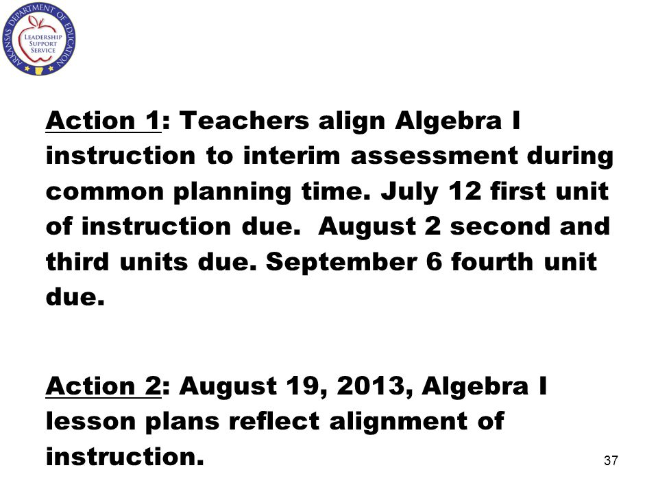 Action 1: Teachers align Algebra I instruction to interim assessment during common planning time. July 12 first unit of instruction due. August 2 second and third units due. September 6 fourth unit due.