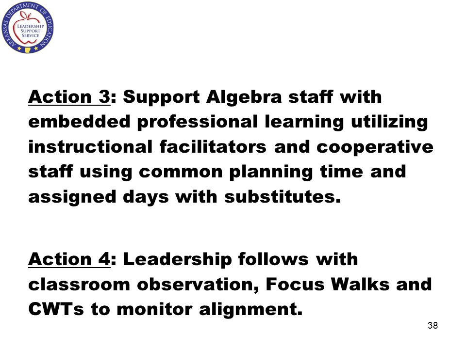 Action 3: Support Algebra staff with embedded professional learning utilizing instructional facilitators and cooperative staff using common planning time and assigned days with substitutes.