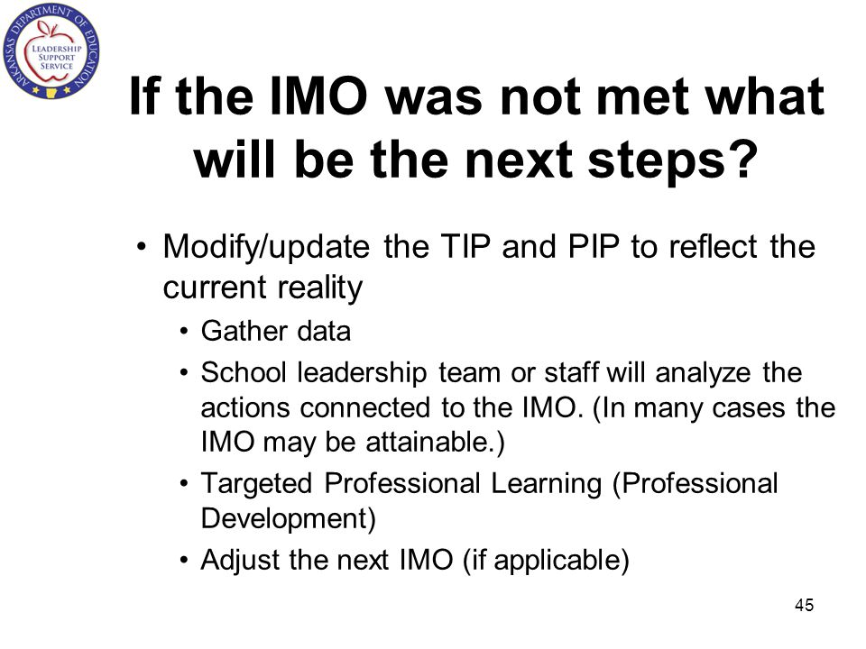 If the IMO was not met what will be the next steps
