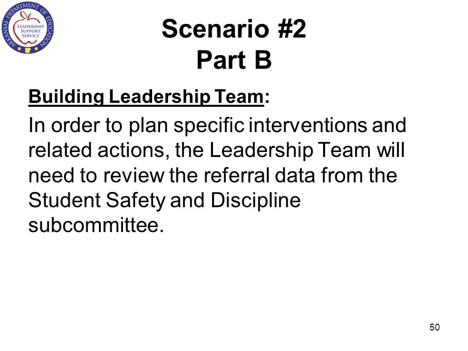 Scenario #2 Part B Building Leadership Team: