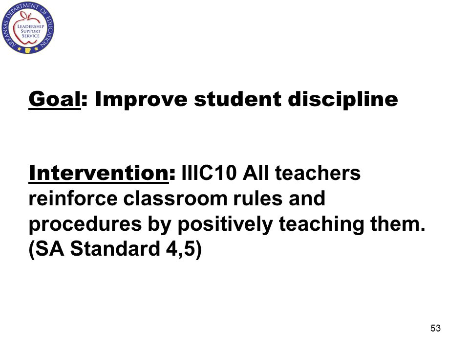 Goal: Improve student discipline Intervention: IIIC10 All teachers reinforce classroom rules and procedures by positively teaching them.