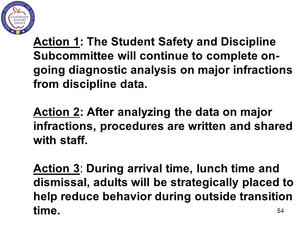 Action 1: The Student Safety and Discipline Subcommittee will continue to complete on-going diagnostic analysis on major infractions from discipline data.